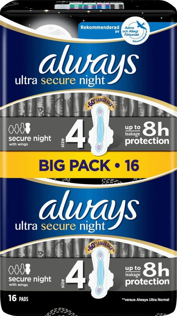 Always Ultra Secure Night Pads Wings 16 st